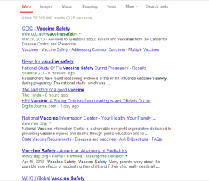 Can you tell which one is the anti-vac site? Google results accurate as of 23 September 2013, 5:28 AM UST.