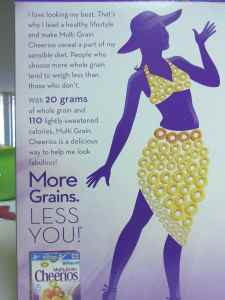 The back of the box, which claims that the cereal can help you lose weight.